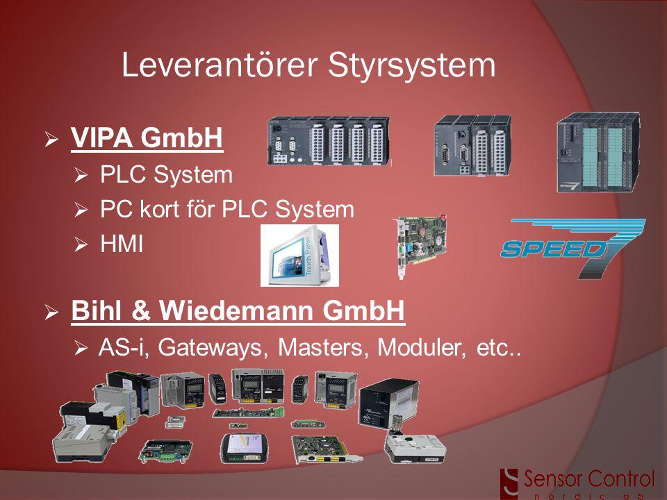 Leverantörer Styrsystem  VIPA GmbH  PLC System  PC kort för PLC System  HMI  Bihl & Wiedemann GmbH  AS-i, Gateways, Masters, Moduler, etc..