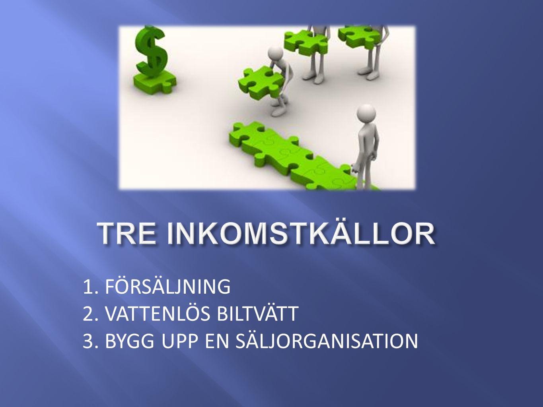 1. FÖRSÄLJNING 2. VATTENLÖS BILTVÄTT 3. BYGG UPP EN SÄLJORGANISATION
