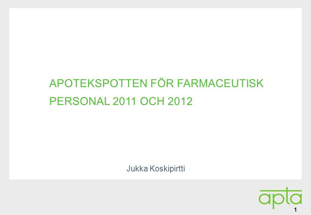 Alatunniste APOTEKSPOTTEN FÖR FARMACEUTISK PERSONAL 2011 OCH 2012 Jukka Koskipirtti 1