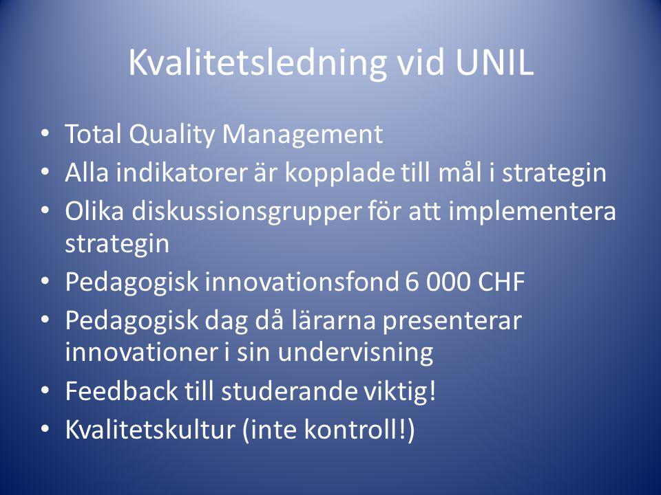 Kvalitetsledning vid UNIL • Total Quality Management • Alla indikatorer är kopplade till mål i strategin • Olika diskussionsgrupper för att implemente