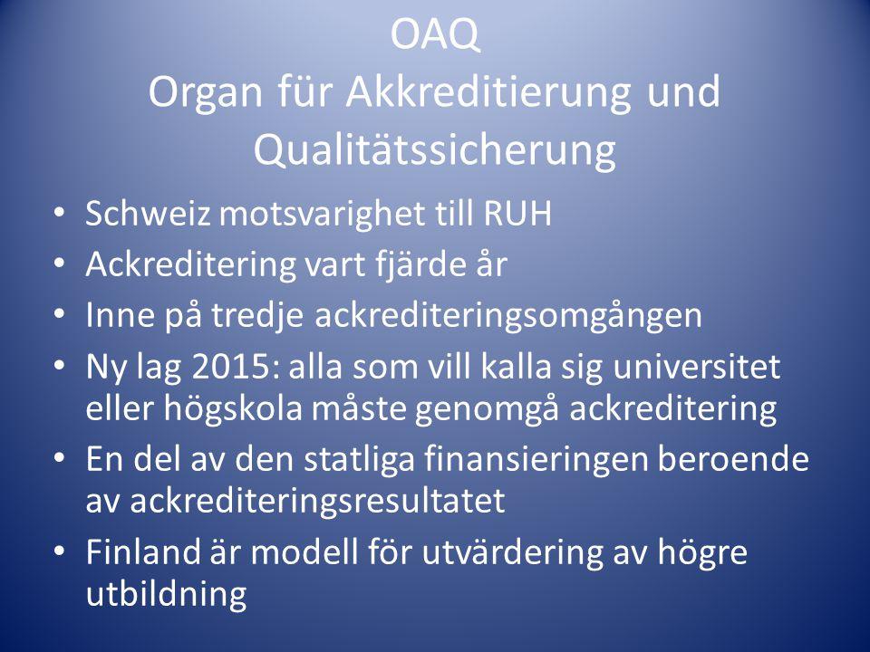 OAQ Organ für Akkreditierung und Qualitätssicherung • Schweiz motsvarighet till RUH • Ackreditering vart fjärde år • Inne på tredje ackrediteringsomgå