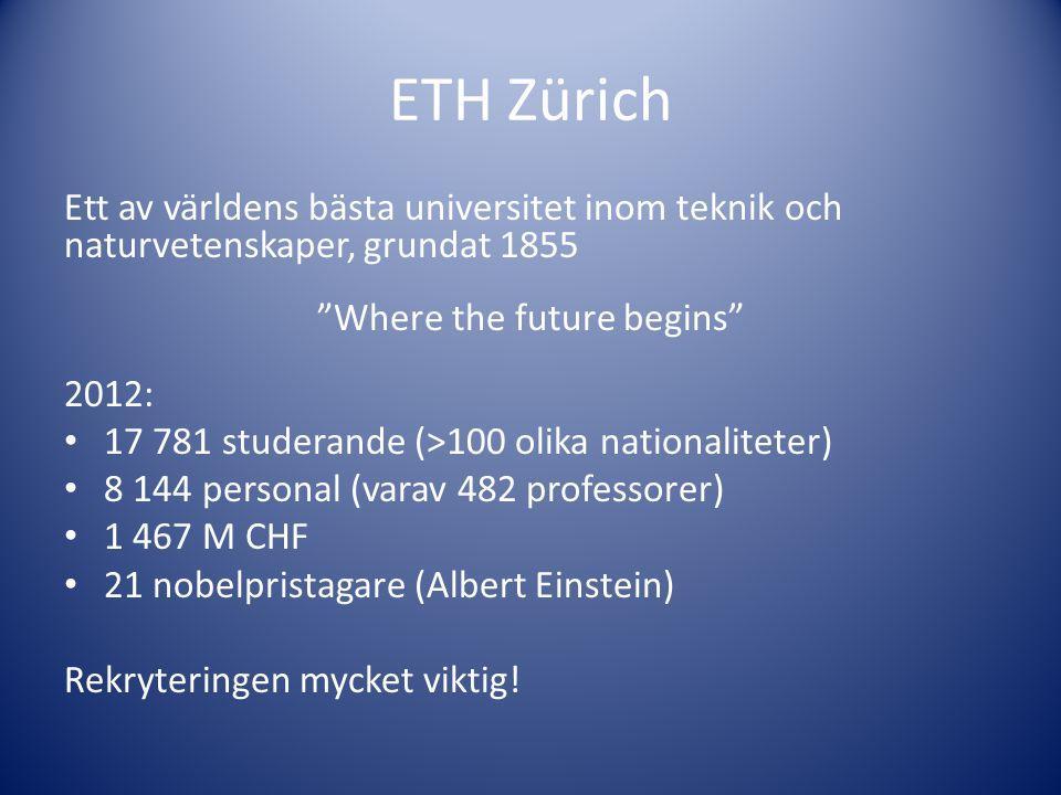"""ETH Zürich Ett av världens bästa universitet inom teknik och naturvetenskaper, grundat 1855 """"Where the future begins"""" 2012: • 17 781 studerande (>100"""