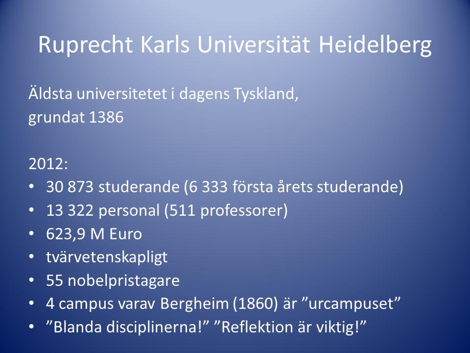 Ruprecht Karls Universität Heidelberg Äldsta universitetet i dagens Tyskland, grundat 1386 2012: • 30 873 studerande (6 333 första årets studerande) •