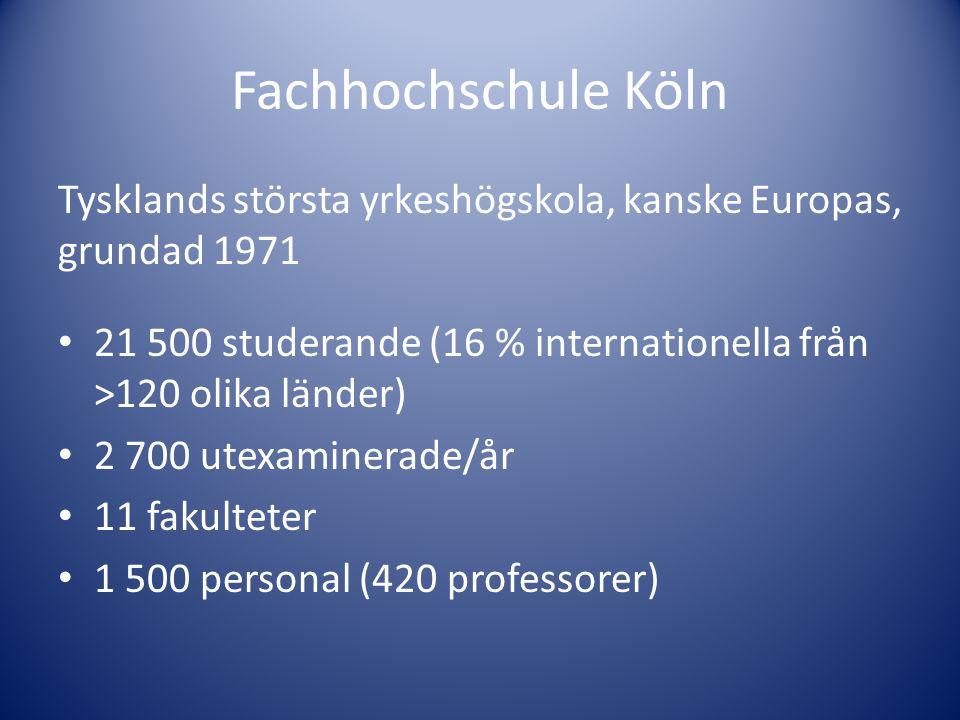 Tysklands största yrkeshögskola, kanske Europas, grundad 1971 • 21 500 studerande (16 % internationella från >120 olika länder) • 2 700 utexaminerade/