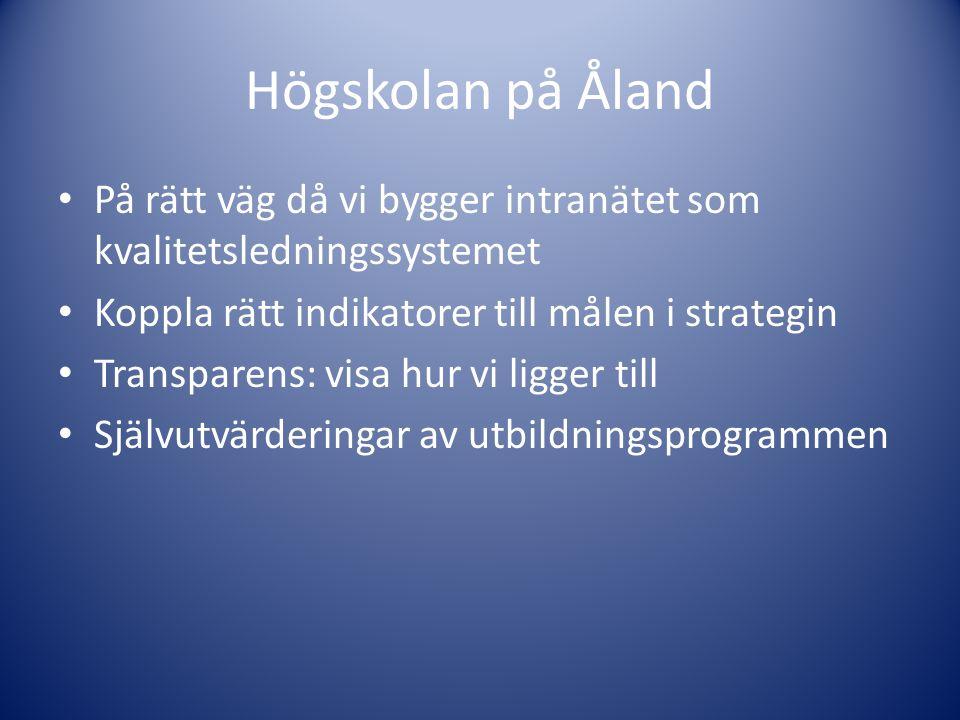 Högskolan på Åland • På rätt väg då vi bygger intranätet som kvalitetsledningssystemet • Koppla rätt indikatorer till målen i strategin • Transparens: