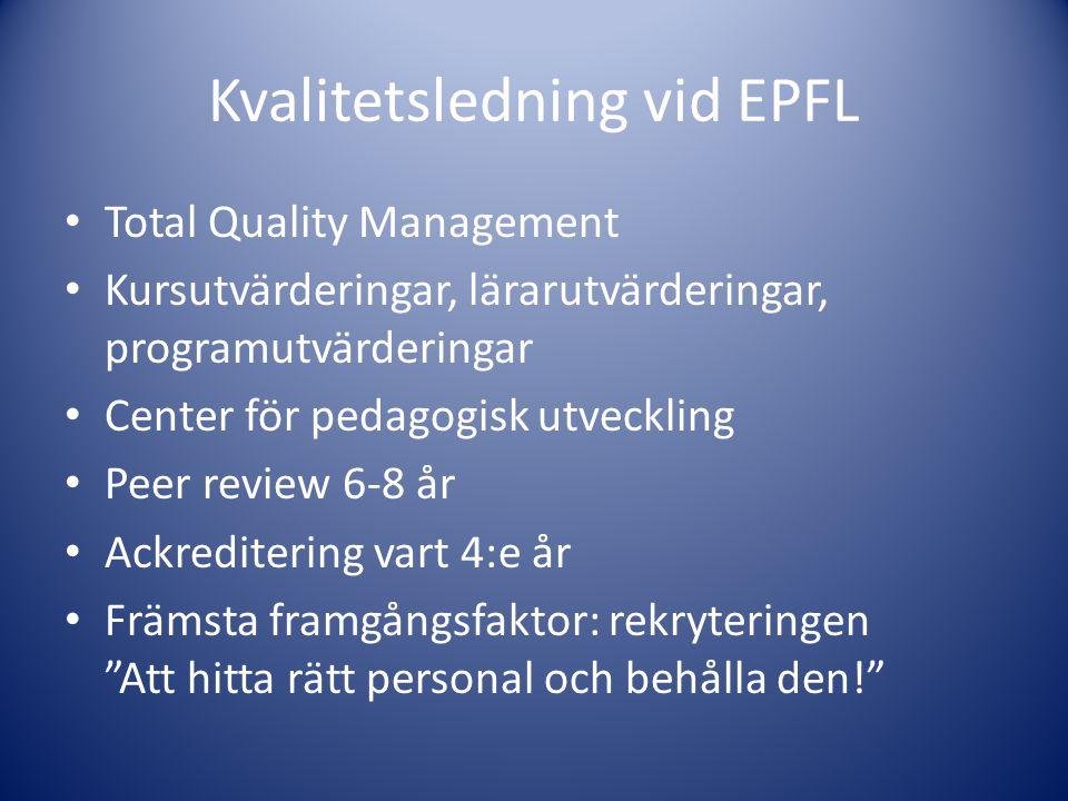 Kvalitetsledning vid EPFL • Total Quality Management • Kursutvärderingar, lärarutvärderingar, programutvärderingar • Center för pedagogisk utveckling