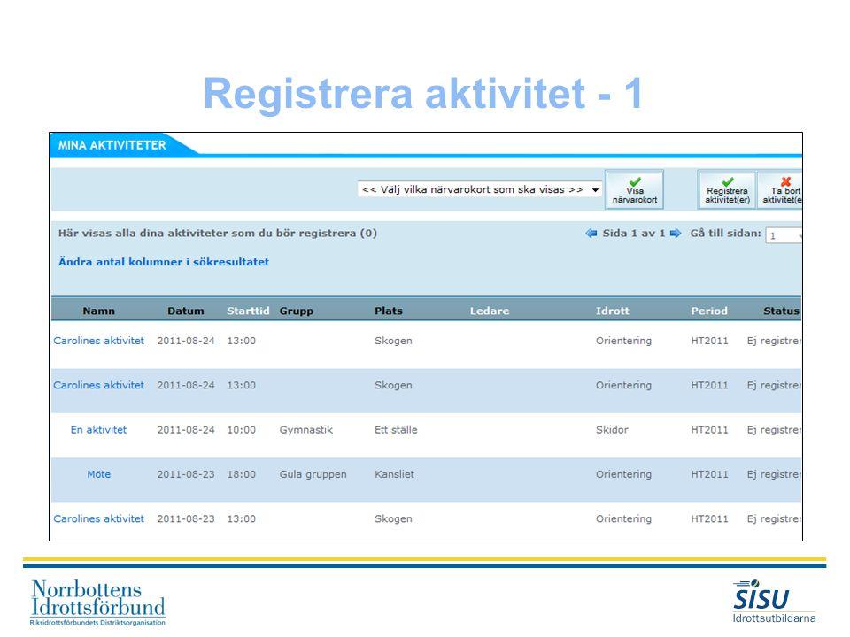 Registrera aktivitet - 1