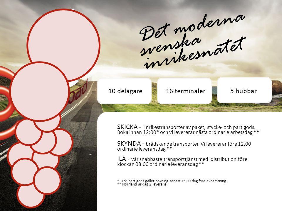 Det moderna svenska inrikesnätet SKICKA - Inrikestransporter av paket, stycke- och partigods.