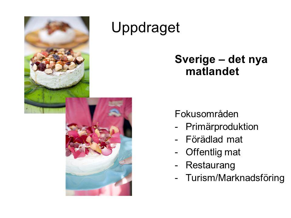 Uppdraget Sverige – det nya matlandet Fokusområden -Primärproduktion -Förädlad mat -Offentlig mat -Restaurang -Turism/Marknadsföring