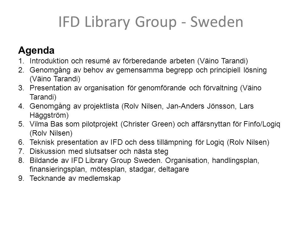 IFD Library Group - Sweden Agenda 1.Introduktion och resumé av förberedande arbeten (Väino Tarandi) 2.Genomgång av behov av gemensamma begrepp och principiell lösning (Väino Tarandi) 3.Presentation av organisation för genomförande och förvaltning (Väino Tarandi) 4.Genomgång av projektlista (Rolv Nilsen, Jan-Anders Jönsson, Lars Häggström) 5.Vilma Bas som pilotprojekt (Christer Green) och affärsnyttan för Finfo/Logiq (Rolv Nilsen) 6.Teknisk presentation av IFD och dess tillämpning för Logiq (Rolv Nilsen) 7.Diskussion med slutsatser och nästa steg 8.Bildande av IFD Library Group Sweden.