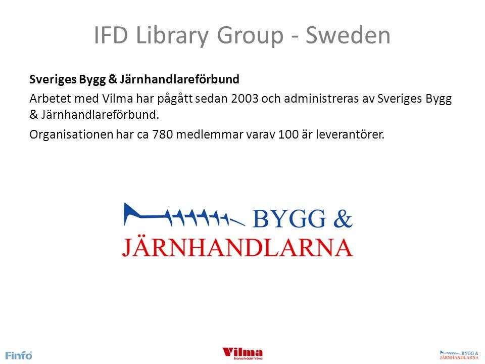 IFD Library Group - Sweden Informationsstandarden Vilma Vilma beskriver systemstödsfunktionalitet samt den specifikation för artikelinformation som varje producent/leverantör har att följa för att beskriva sina produkter.