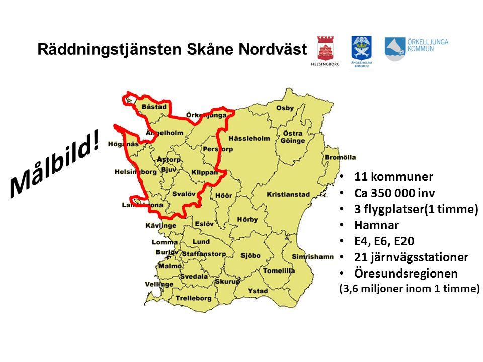 HELSINGBORGS BRANDFÖRSVAR Räddningstjänsten Skåne Nordväst • 11 kommuner • Ca 350 000 inv • 3 flygplatser(1 timme) • Hamnar • E4, E6, E20 • 21 järnväg