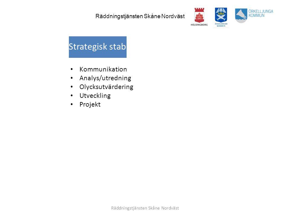 Räddningstjänsten Skåne Nordväst • Kommunikation • Analys/utredning • Olycksutvärdering • Utveckling • Projekt Strategisk stab