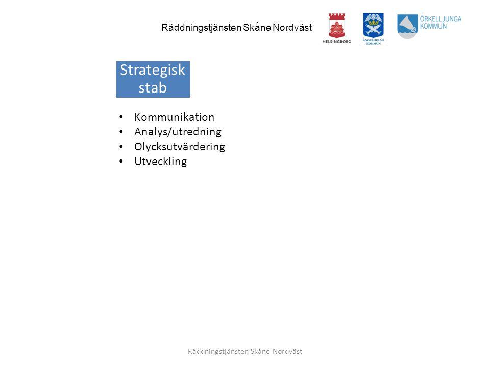 Räddningstjänsten Skåne Nordväst • Kommunikation • Analys/utredning • Olycksutvärdering • Utveckling Strategisk stab