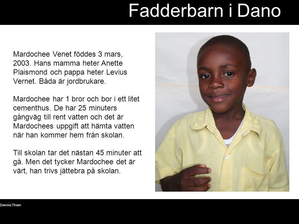 © Dennis Thern 20 Fadderbarn i Dano Mardochee Venet föddes 3 mars, 2003. Hans mamma heter Anette Plaismond och pappa heter Levius Vernet. Båda är jord