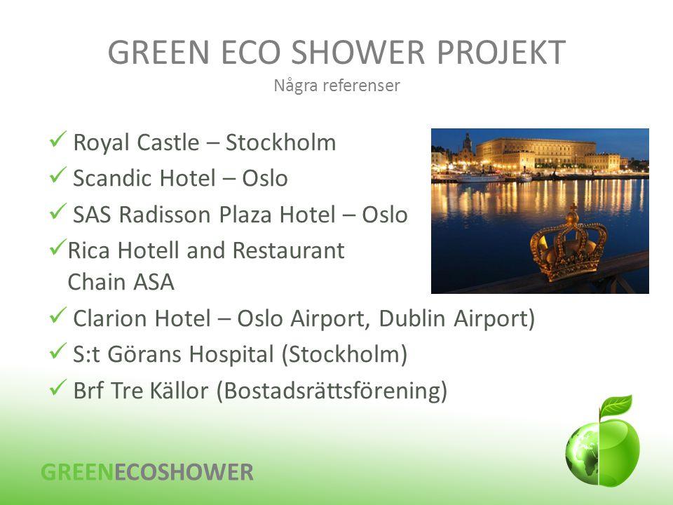 GREEN ECO SHOWER PROJEKT Några referenser GREENECOSHOWER  Royal Castle – Stockholm  Scandic Hotel – Oslo  SAS Radisson Plaza Hotel – Oslo  Rica Ho