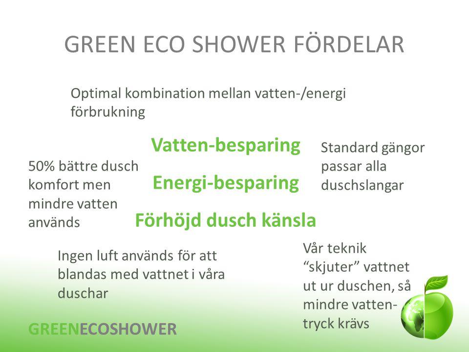 """GREEN ECO SHOWER FÖRDELAR Vatten-besparing Energi-besparing Förhöjd dusch känsla Vår teknik """"skjuter"""" vattnet ut ur duschen, så mindre vatten- tryck k"""