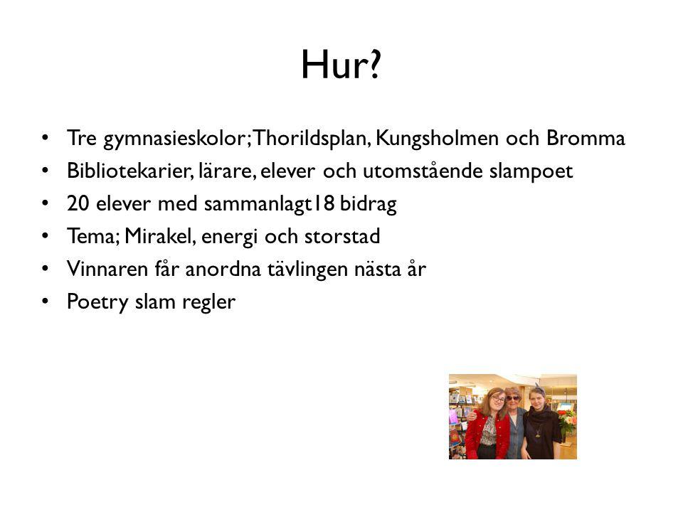 Hur? • Tre gymnasieskolor; Thorildsplan, Kungsholmen och Bromma • Bibliotekarier, lärare, elever och utomstående slampoet • 20 elever med sammanlagt18