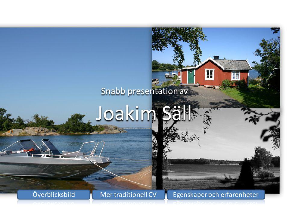 Snabb presentation av Joakim Säll