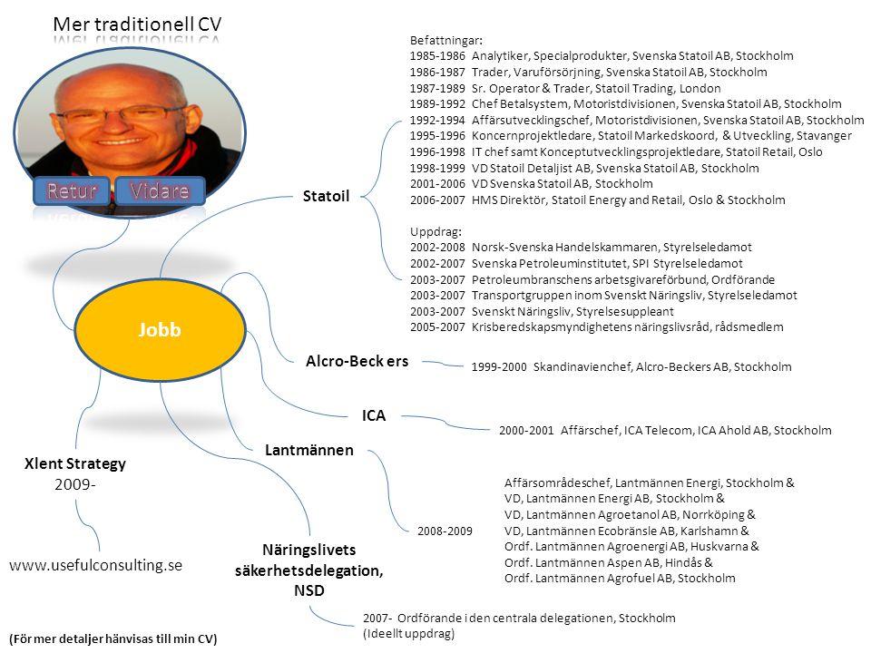 Jobb Statoil Alcro-Beck ers ICA Lantmännen Xlent Strategy 2009- www.usefulconsulting.se Befattningar: 1985-1986 Analytiker, Specialprodukter, Svenska