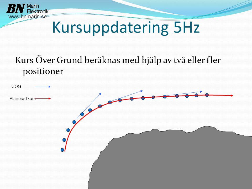 Kursuppdatering 5Hz Kurs Över Grund beräknas med hjälp av två eller fler positioner COG Planerad kurs www.bnmarin.se