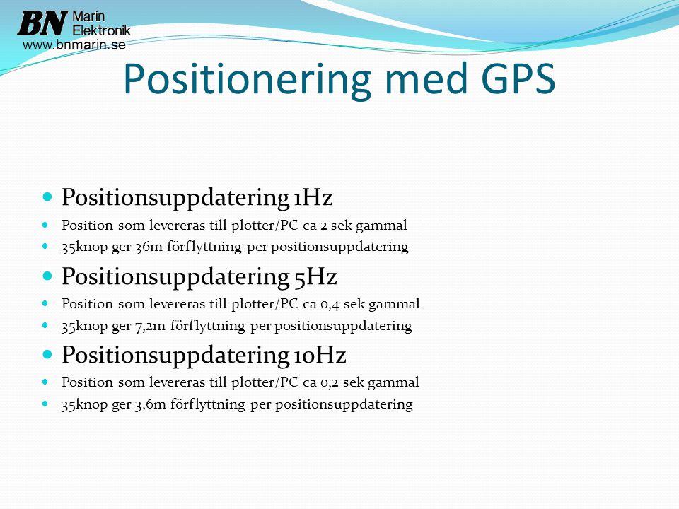 Positionering med GPS  Positionsuppdatering 1Hz  Position som levereras till plotter/PC ca 2 sek gammal  35knop ger 36m förflyttning per positionsuppdatering  Positionsuppdatering 5Hz  Position som levereras till plotter/PC ca 0,4 sek gammal  35knop ger 7,2m förflyttning per positionsuppdatering  Positionsuppdatering 10Hz  Position som levereras till plotter/PC ca 0,2 sek gammal  35knop ger 3,6m förflyttning per positionsuppdatering www.bnmarin.se