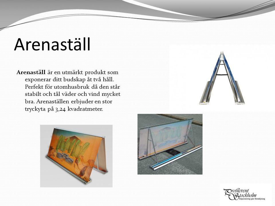 Arenaställ Arenaställ är en utmärkt produkt som exponerar ditt budskap åt två håll. Perfekt för utomhusbruk då den står stabilt och tål väder och vind