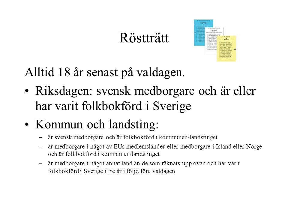 Röstträtt Alltid 18 år senast på valdagen. •Riksdagen: svensk medborgare och är eller har varit folkbokförd i Sverige •Kommun och landsting: –är svens