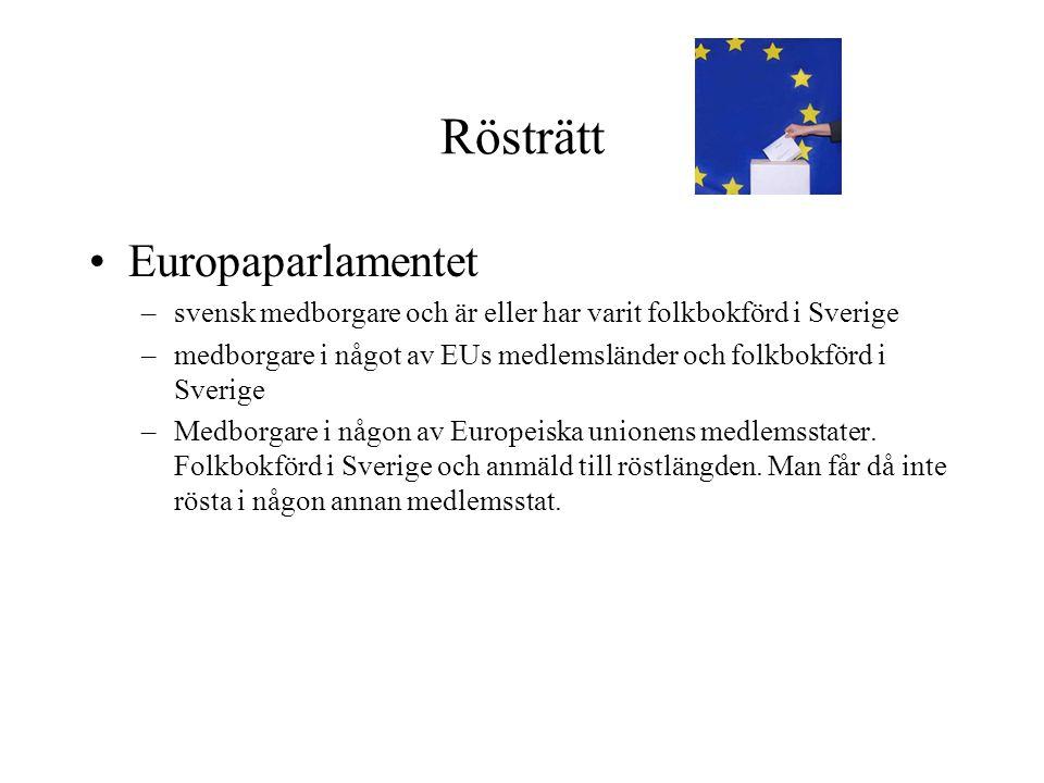 Rösträtt •Europaparlamentet –svensk medborgare och är eller har varit folkbokförd i Sverige –medborgare i något av EUs medlemsländer och folkbokförd i