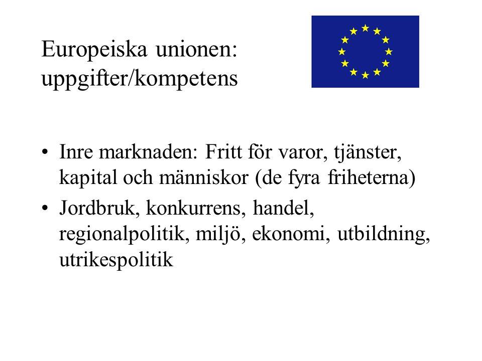 Europeiska unionen: uppgifter/kompetens •Inre marknaden: Fritt för varor, tjänster, kapital och människor (de fyra friheterna) •Jordbruk, konkurrens,