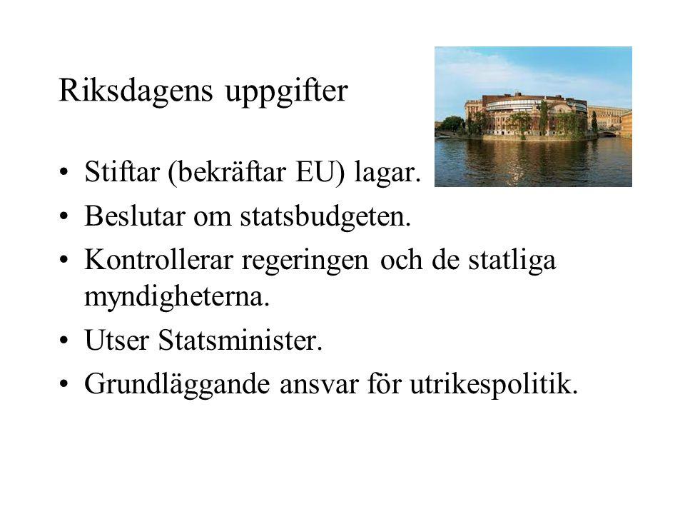 Riksdagens uppgifter •Stiftar (bekräftar EU) lagar. •Beslutar om statsbudgeten. •Kontrollerar regeringen och de statliga myndigheterna. •Utser Statsmi