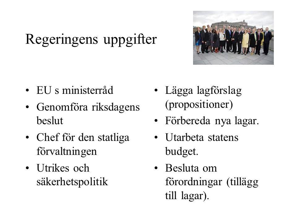 Regeringens uppgifter •EU s ministerråd •Genomföra riksdagens beslut •Chef för den statliga förvaltningen •Utrikes och säkerhetspolitik •Lägga lagförs