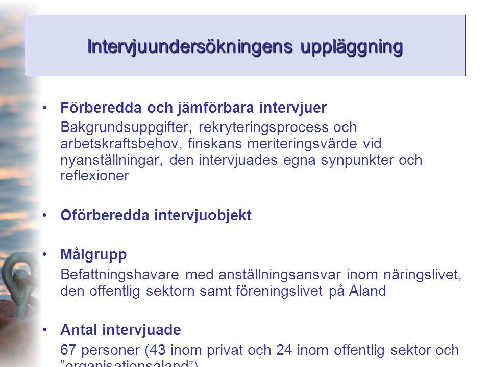 Intervjuundersökningens uppläggning •Förberedda och jämförbara intervjuer Bakgrundsuppgifter, rekryteringsprocess och arbetskraftsbehov, finskans meri