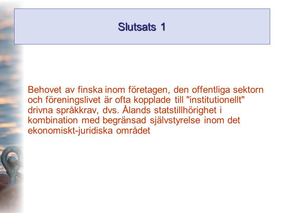 Slutsats 1 Behovet av finska inom företagen, den offentliga sektorn och föreningslivet är ofta kopplade till