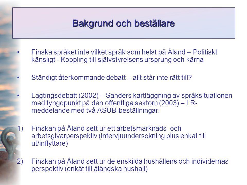 Intervjuundersökningens uppläggning •Förberedda och jämförbara intervjuer Bakgrundsuppgifter, rekryteringsprocess och arbetskraftsbehov, finskans meriteringsvärde vid nyanställningar, den intervjuades egna synpunkter och reflexioner •Oförberedda intervjuobjekt •Målgrupp Befattningshavare med anställningsansvar inom näringslivet, den offentlig sektorn samt föreningslivet på Åland •Antal intervjuade 67 personer (43 inom privat och 24 inom offentlig sektor och organisationsåland )