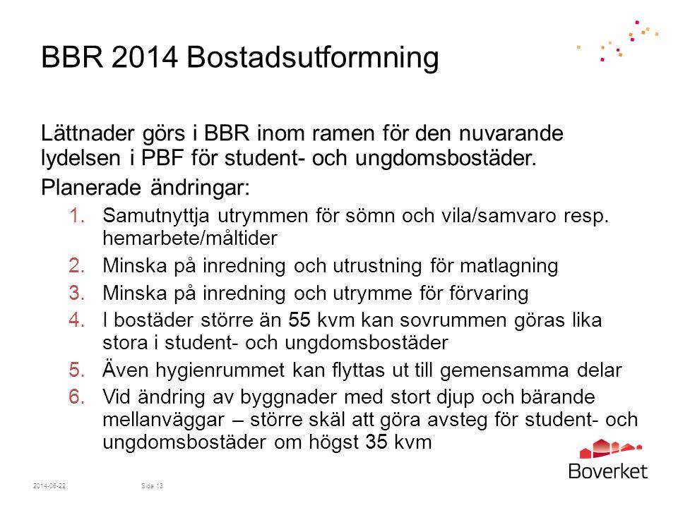 BBR 2014 Bostadsutformning Lättnader görs i BBR inom ramen för den nuvarande lydelsen i PBF för student- och ungdomsbostäder. Planerade ändringar: 1.S