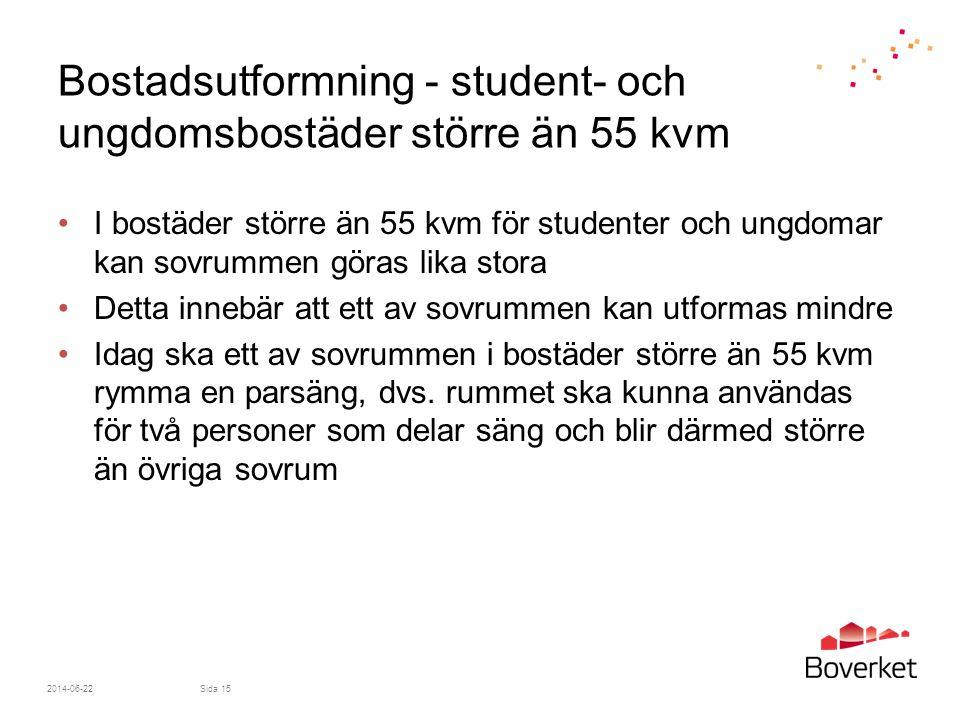 Bostadsutformning - student- och ungdomsbostäder större än 55 kvm •I bostäder större än 55 kvm för studenter och ungdomar kan sovrummen göras lika sto