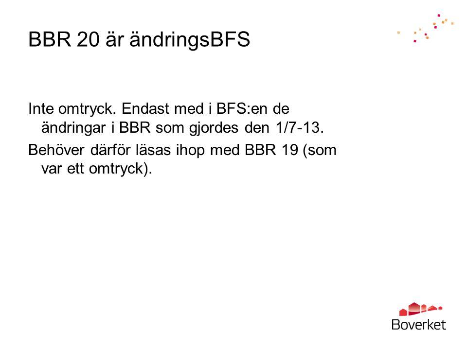 BBR 20 är ändringsBFS Inte omtryck. Endast med i BFS:en de ändringar i BBR som gjordes den 1/7-13. Behöver därför läsas ihop med BBR 19 (som var ett o