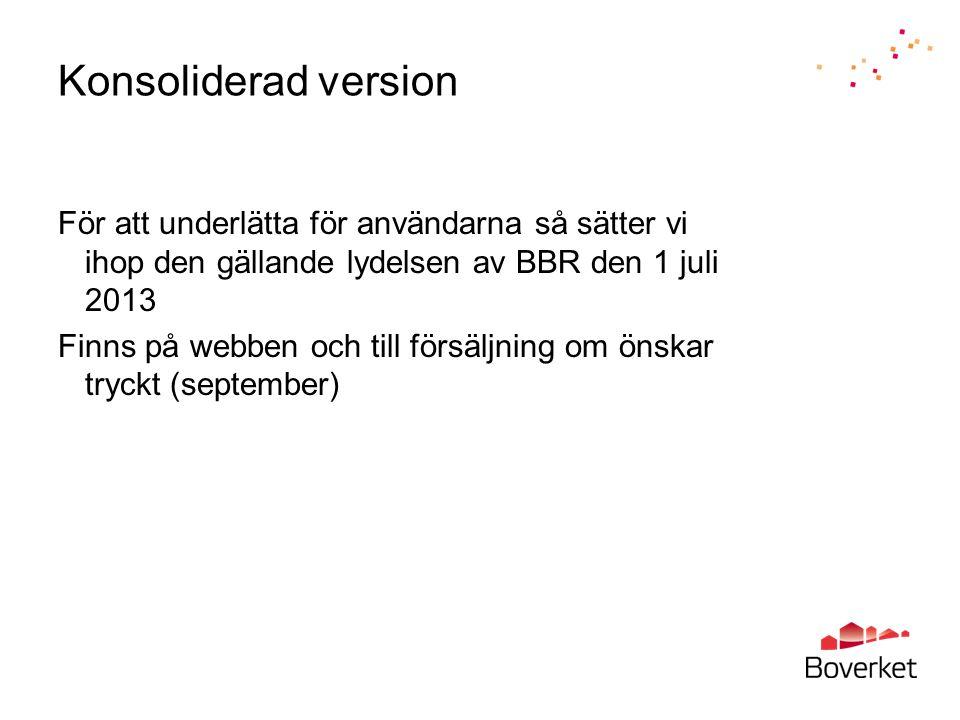 Konsoliderad version För att underlätta för användarna så sätter vi ihop den gällande lydelsen av BBR den 1 juli 2013 Finns på webben och till försälj