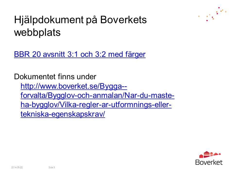 Hjälpdokument på Boverkets webbplats BBR 20 avsnitt 3:1 och 3:2 med färger Dokumentet finns under http://www.boverket.se/Bygga-- forvalta/Bygglov-och-