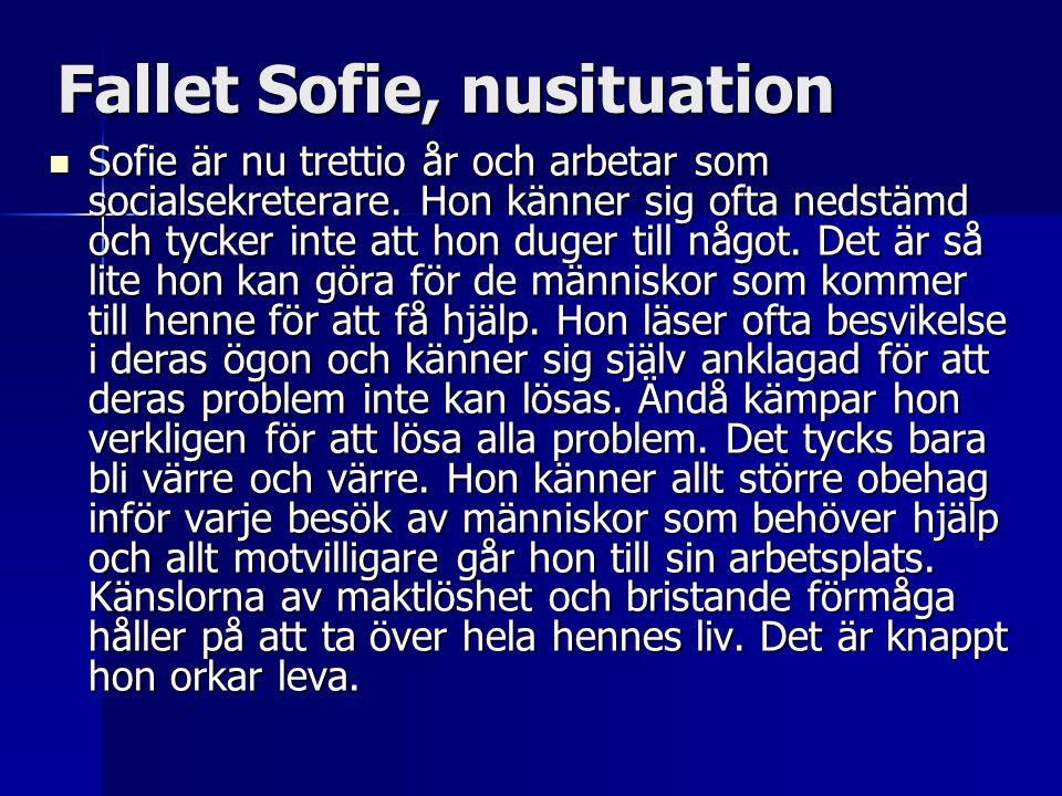 Fallet Sofie, nusituation  Sofie är nu trettio år och arbetar som socialsekreterare. Hon känner sig ofta nedstämd och tycker inte att hon duger till
