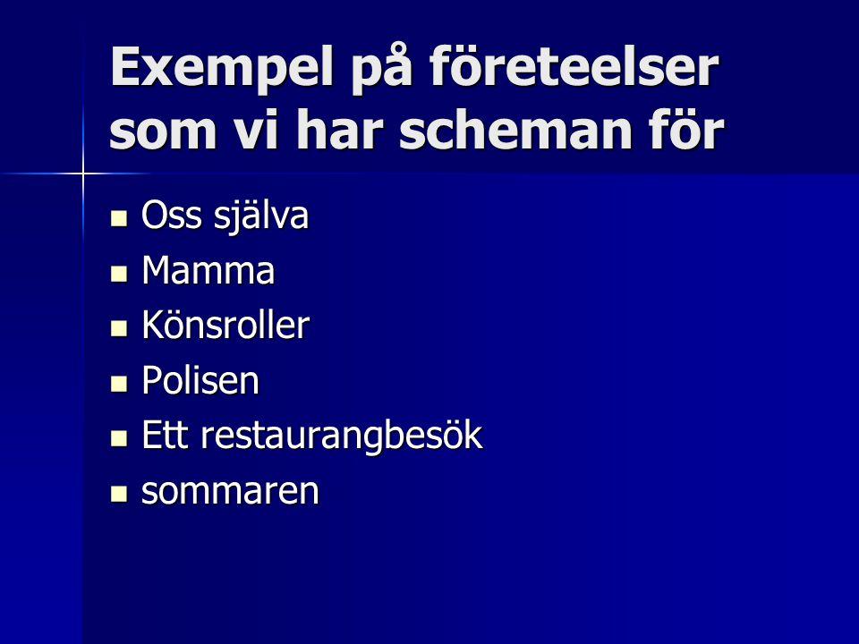 Exempel på företeelser som vi har scheman för  Oss själva  Mamma  Könsroller  Polisen  Ett restaurangbesök  sommaren