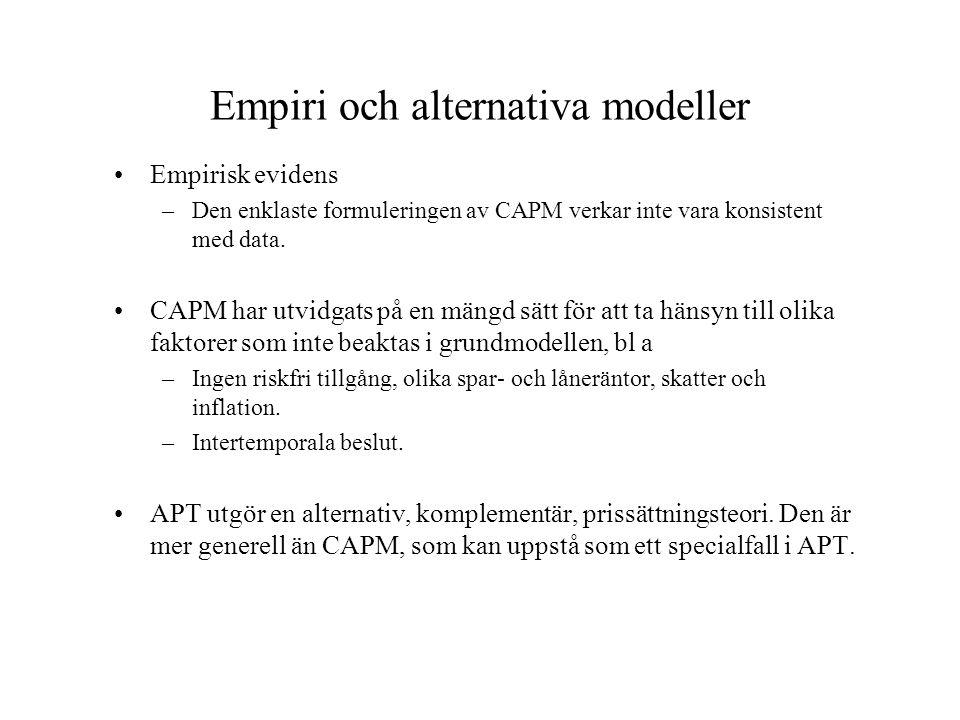 Empiri och alternativa modeller •Empirisk evidens –Den enklaste formuleringen av CAPM verkar inte vara konsistent med data. •CAPM har utvidgats på en