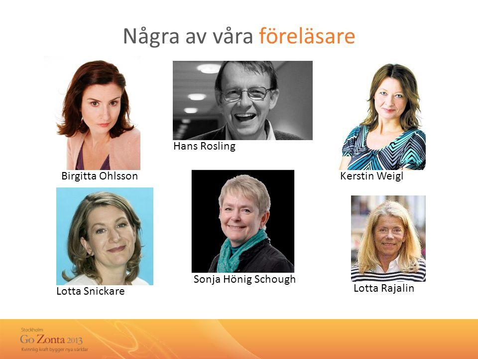 Några av våra föreläsare Birgitta Ohlsson Lotta Snickare Lotta Rajalin Kerstin Weigl Hans Rosling Sonja Hönig Schough