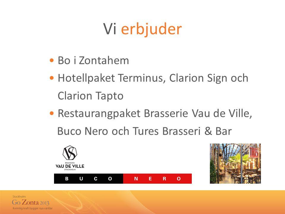 Vi erbjuder • Bo i Zontahem • Hotellpaket Terminus, Clarion Sign och • Clarion Tapto • Restaurangpaket Brasserie Vau de Ville, Buco Nero och Tures Brasseri & Bar