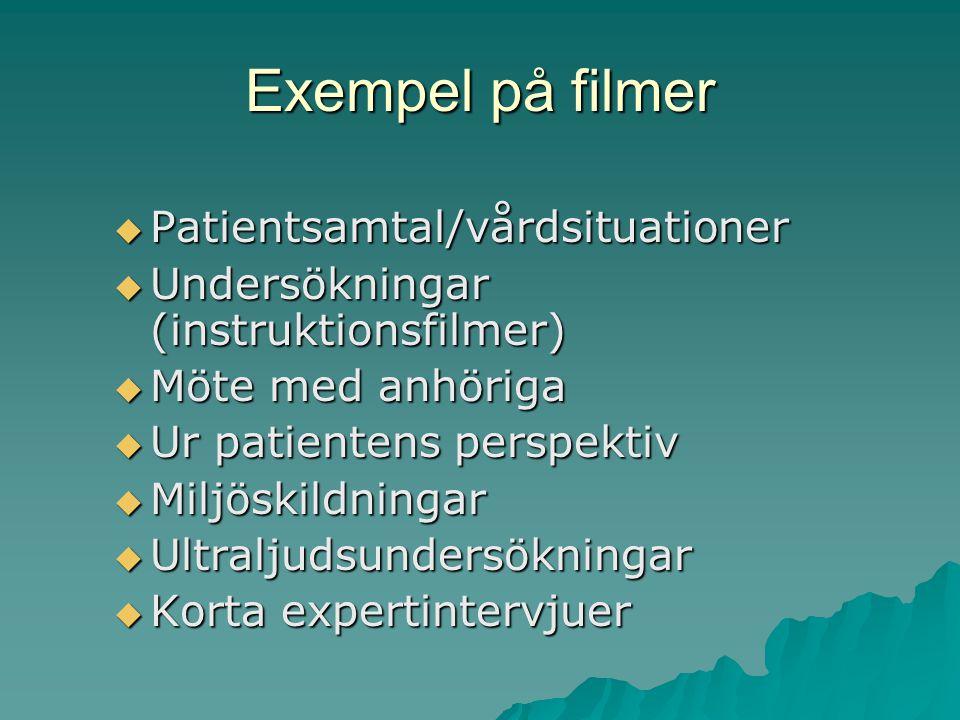 Exempel på filmer  Patientsamtal/vårdsituationer  Undersökningar (instruktionsfilmer)  Möte med anhöriga  Ur patientens perspektiv  Miljöskildningar  Ultraljudsundersökningar  Korta expertintervjuer
