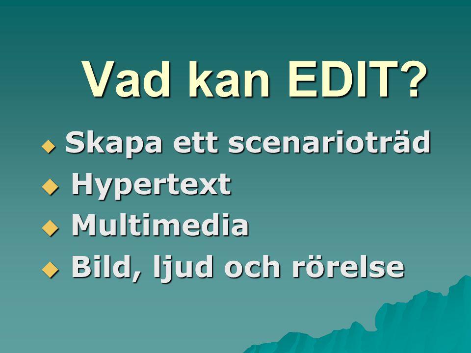 Vad kan EDIT  Skapa ett scenarioträd  Hypertext  Multimedia  Bild, ljud och rörelse