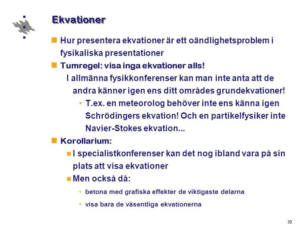 30 Ekvationer  Hur presentera ekvationer är ett oändlighetsproblem i fysikaliska presentationer  Tumregel: visa inga ekvationer alls.