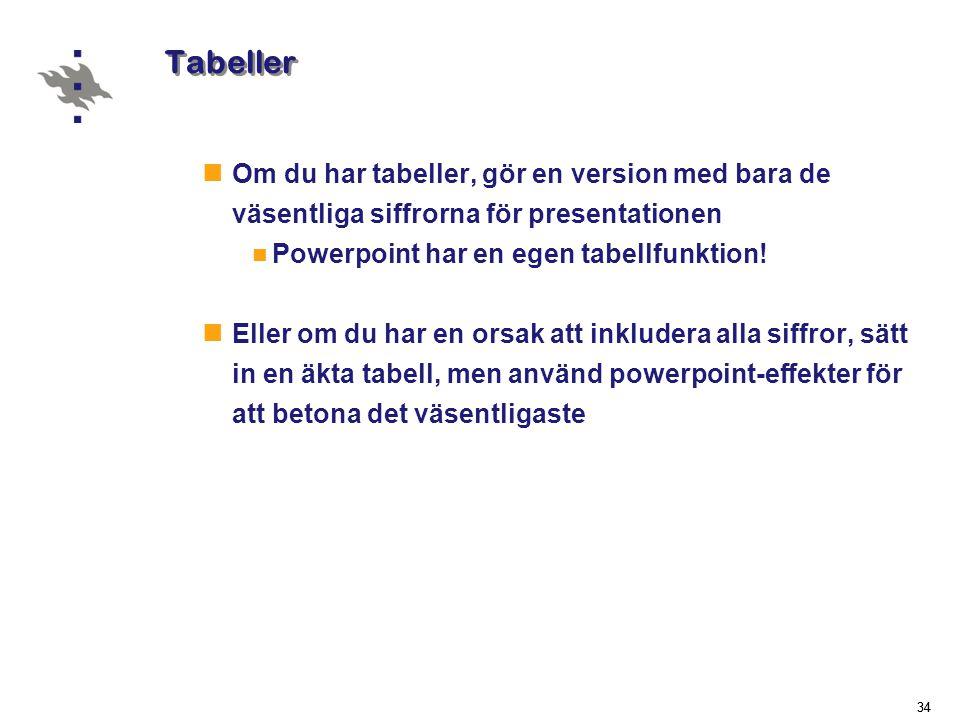 34 Tabeller  Om du har tabeller, gör en version med bara de väsentliga siffrorna för presentationen  Powerpoint har en egen tabellfunktion.