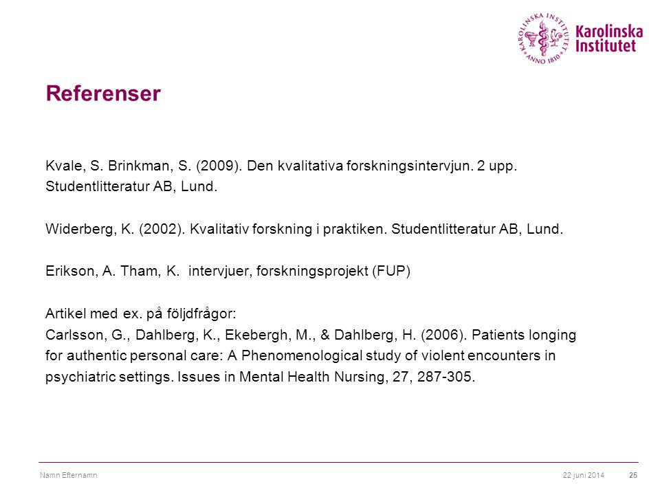Referenser Kvale, S.Brinkman, S. (2009). Den kvalitativa forskningsintervjun.